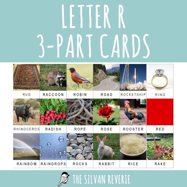 LETTER R 3-PART CARDS