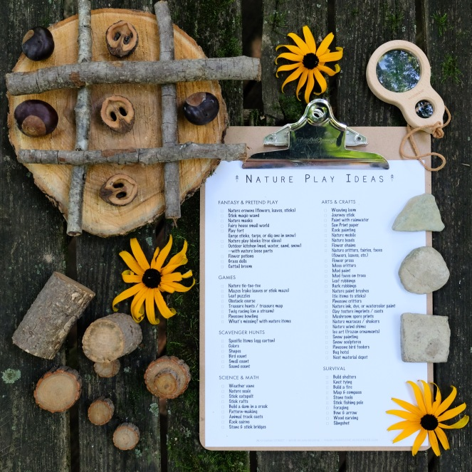 Nature Play Ideas Checklist - The Silvan Reverie